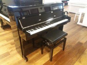 liedermann piano 112 modern silent genio premium zwart hoogglans chroom open