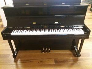 kawai piano k2 zwart hoogglans messing open